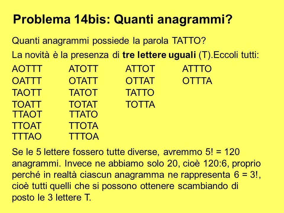Problema 14bis: Quanti anagrammi? Quanti anagrammi possiede la parola TATTO? La novità è la presenza di tre lettere uguali (T).Eccoli tutti: AOTTTATOT