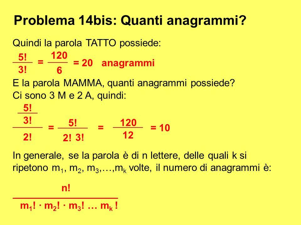 Problema 14bis: Quanti anagrammi? Quindi la parola TATTO possiede: 5! 3! = 120 6 = 20 anagrammi E la parola MAMMA, quanti anagrammi possiede? Ci sono