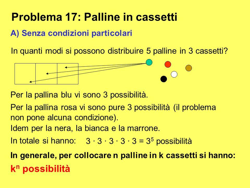 Problema 17: Palline in cassetti In quanti modi si possono distribuire 5 palline in 3 cassetti? Per la pallina blu vi sono 3 possibilità. Per la palli