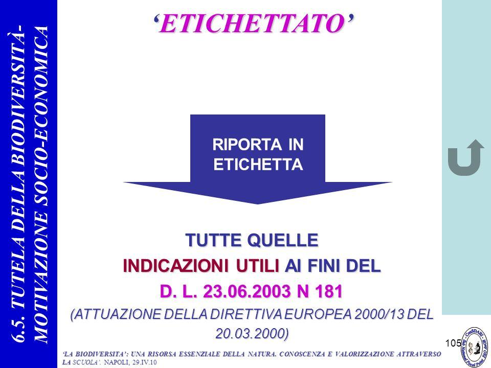 105 ETICHETTATOETICHETTATO TUTTE QUELLE INDICAZIONI UTILI AI FINI DEL D. L. 23.06.2003 N 181 (ATTUAZIONE DELLA DIRETTIVA EUROPEA 2000/13 DEL 20.03.200