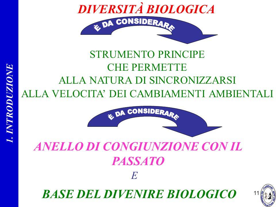 11 DIVERSITÀ BIOLOGICA STRUMENTO PRINCIPE CHE PERMETTE ALLA NATURA DI SINCRONIZZARSI ALLA VELOCITA DEI CAMBIAMENTI AMBIENTALI ANELLO DI CONGIUNZIONE C