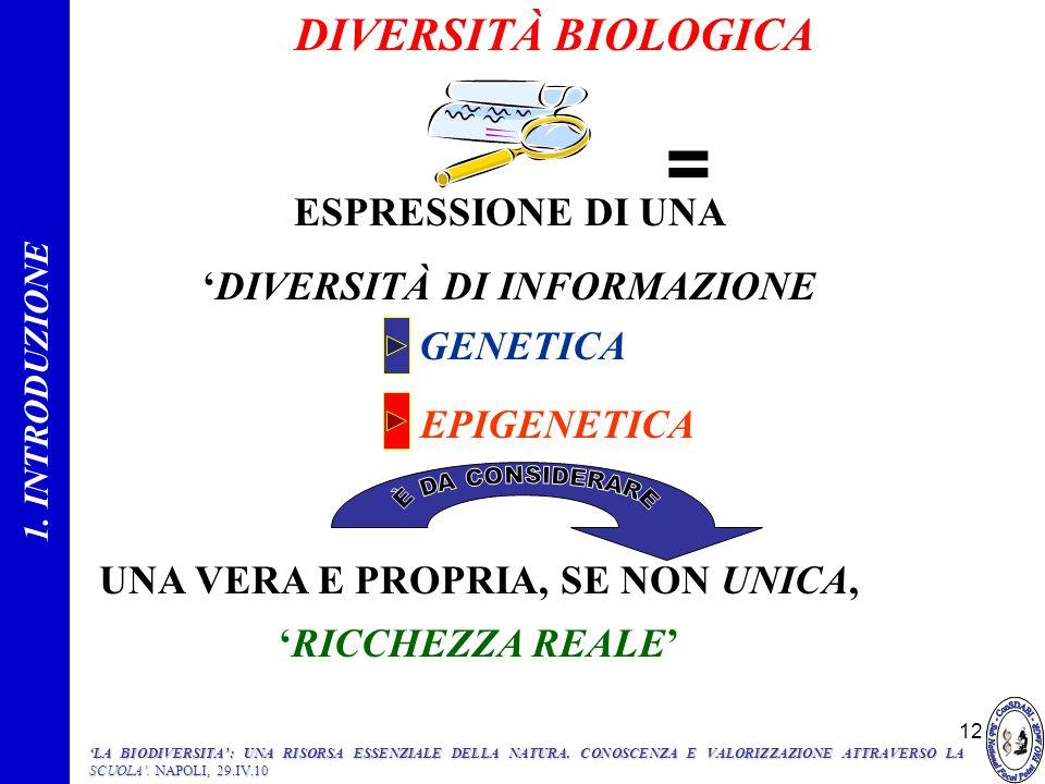 12 UNA VERA E PROPRIA, SE NON UNICA, RICCHEZZA REALE ESPRESSIONE DI UNA DIVERSITÀ DI INFORMAZIONE GENETICA EPIGENETICA = 1. INTRODUZIONE DIVERSITÀ BIO