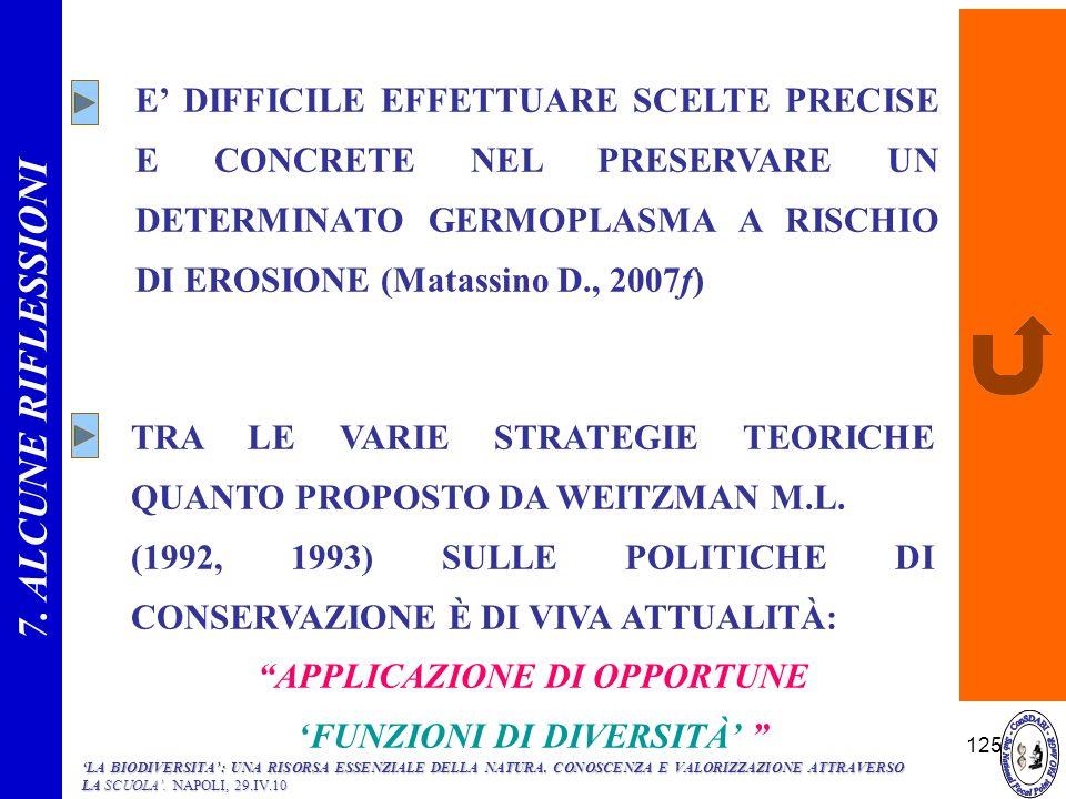 125 E DIFFICILE EFFETTUARE SCELTE PRECISE E CONCRETE NEL PRESERVARE UN DETERMINATO GERMOPLASMA A RISCHIO DI EROSIONE (Matassino D., 2007f) TRA LE VARI