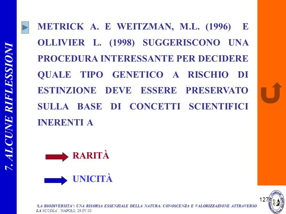 127 METRICK A. E WEITZMAN, M.L. (1996) E OLLIVIER L. (1998) SUGGERISCONO UNA PROCEDURA INTERESSANTE PER DECIDERE QUALE TIPO GENETICO A RISCHIO DI ESTI