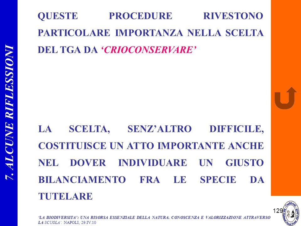 129 QUESTE PROCEDURE RIVESTONO PARTICOLARE IMPORTANZA NELLA SCELTA DEL TGA DA CRIOCONSERVARE LA SCELTA, SENZALTRO DIFFICILE, COSTITUISCE UN ATTO IMPOR