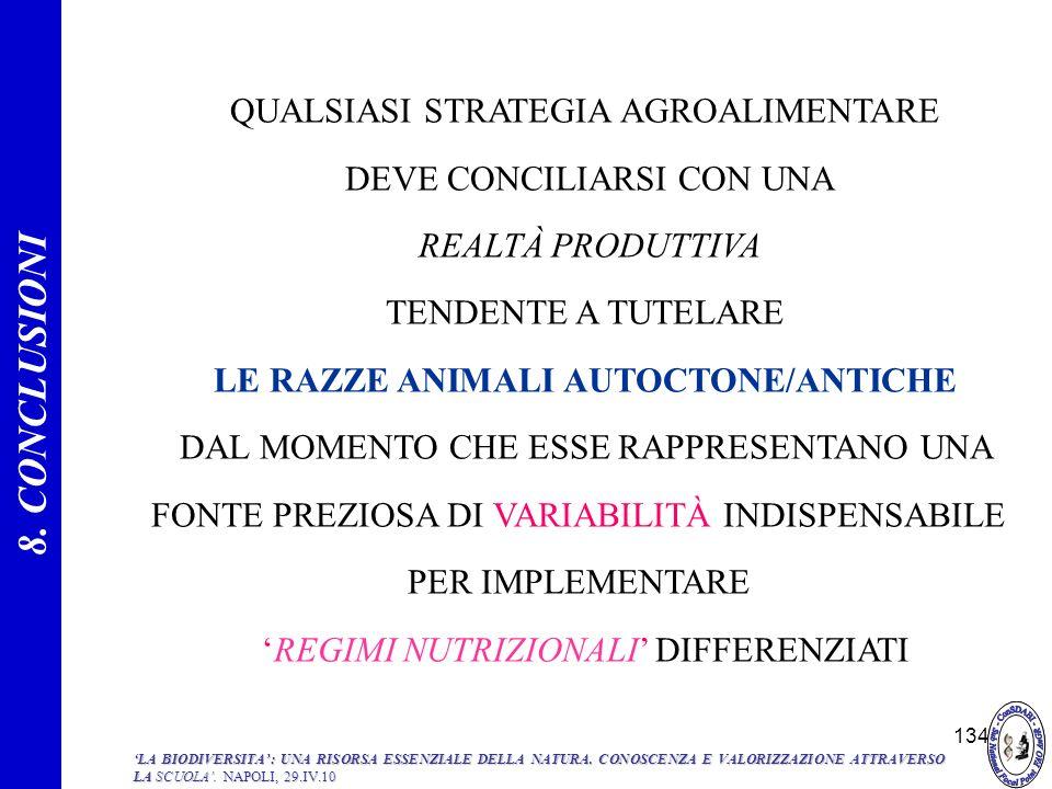134 QUALSIASI STRATEGIA AGROALIMENTARE DEVE CONCILIARSI CON UNA REALTÀ PRODUTTIVA TENDENTE A TUTELARE LE RAZZE ANIMALI AUTOCTONE/ANTICHE DAL MOMENTO C