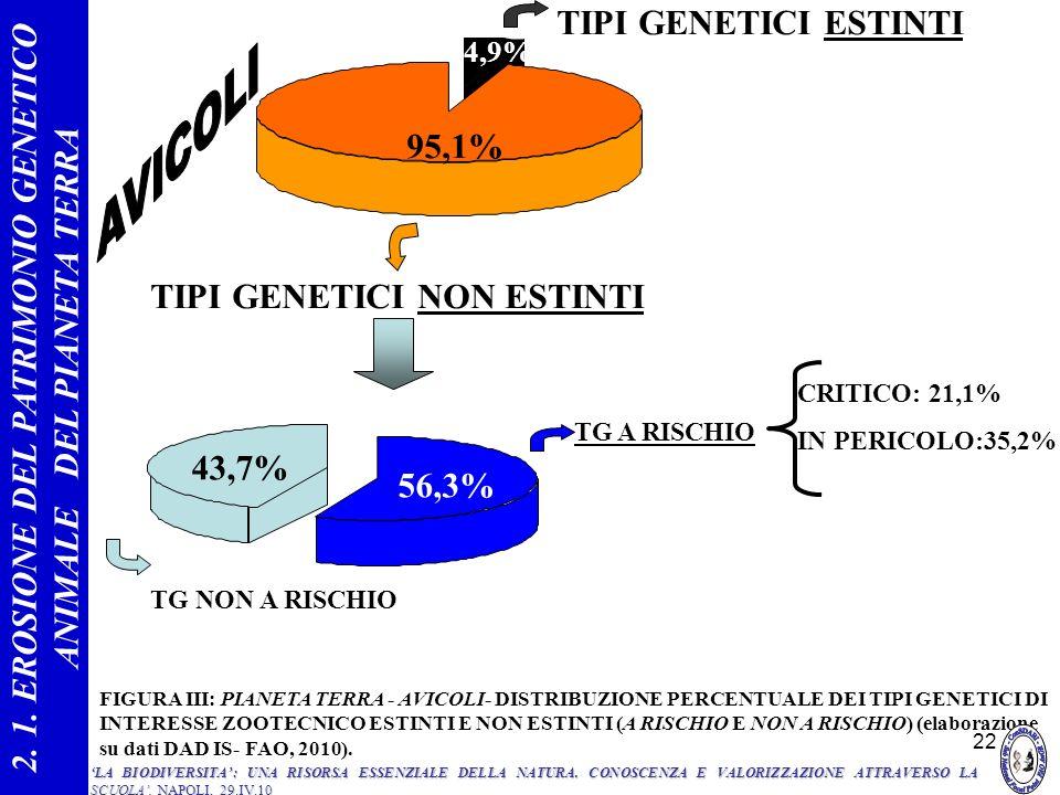 22 56,3% 43,7% TG A RISCHIO TG NON A RISCHIO 4,9% 95,1% TIPI GENETICI ESTINTI TIPI GENETICI NON ESTINTI CRITICO: 21,1% IN PERICOLO:35,2% FIGURA III: P