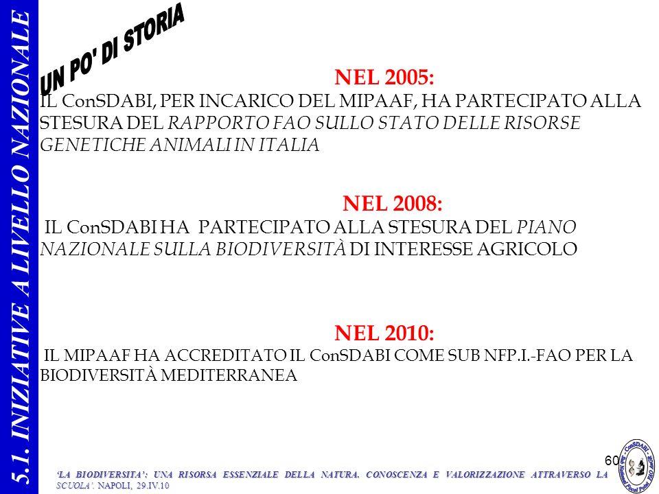 60 NEL 2005: IL ConSDABI, PER INCARICO DEL MIPAAF, HA PARTECIPATO ALLA STESURA DEL RAPPORTO FAO SULLO STATO DELLE RISORSE GENETICHE ANIMALI IN ITALIA