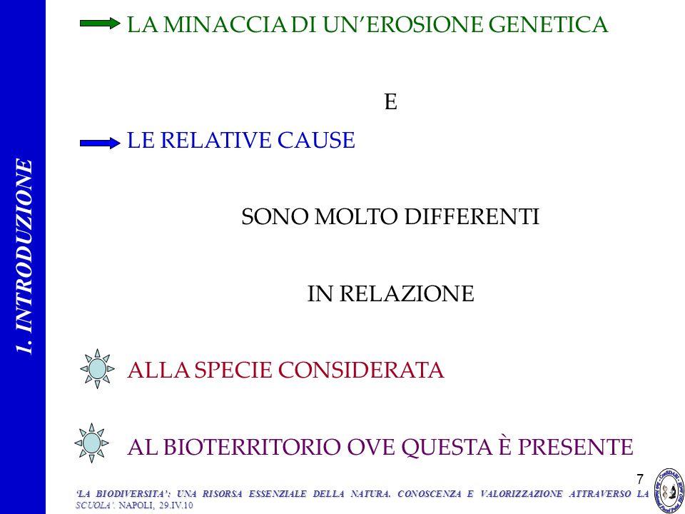 7 LA MINACCIA DI UNEROSIONE GENETICA E LE RELATIVE CAUSE SONO MOLTO DIFFERENTI IN RELAZIONE ALLA SPECIE CONSIDERATA AL BIOTERRITORIO OVE QUESTA È PRES
