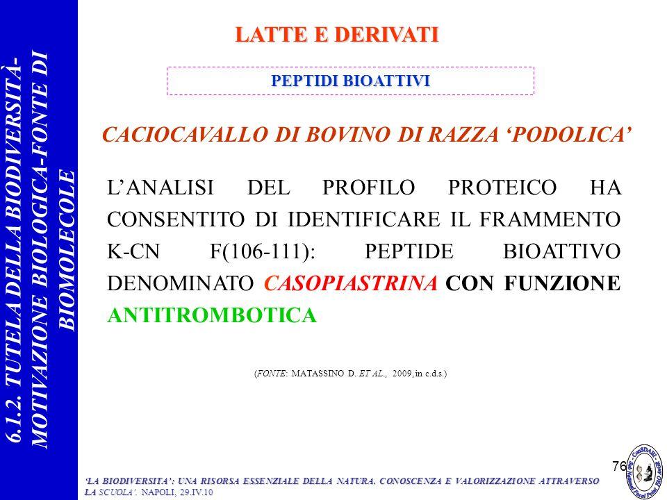 76 LANALISI DEL PROFILO PROTEICO HA CONSENTITO DI IDENTIFICARE IL FRAMMENTO Κ-CN F(106-111): PEPTIDE BIOATTIVO DENOMINATO CASOPIASTRINA CON FUNZIONE A