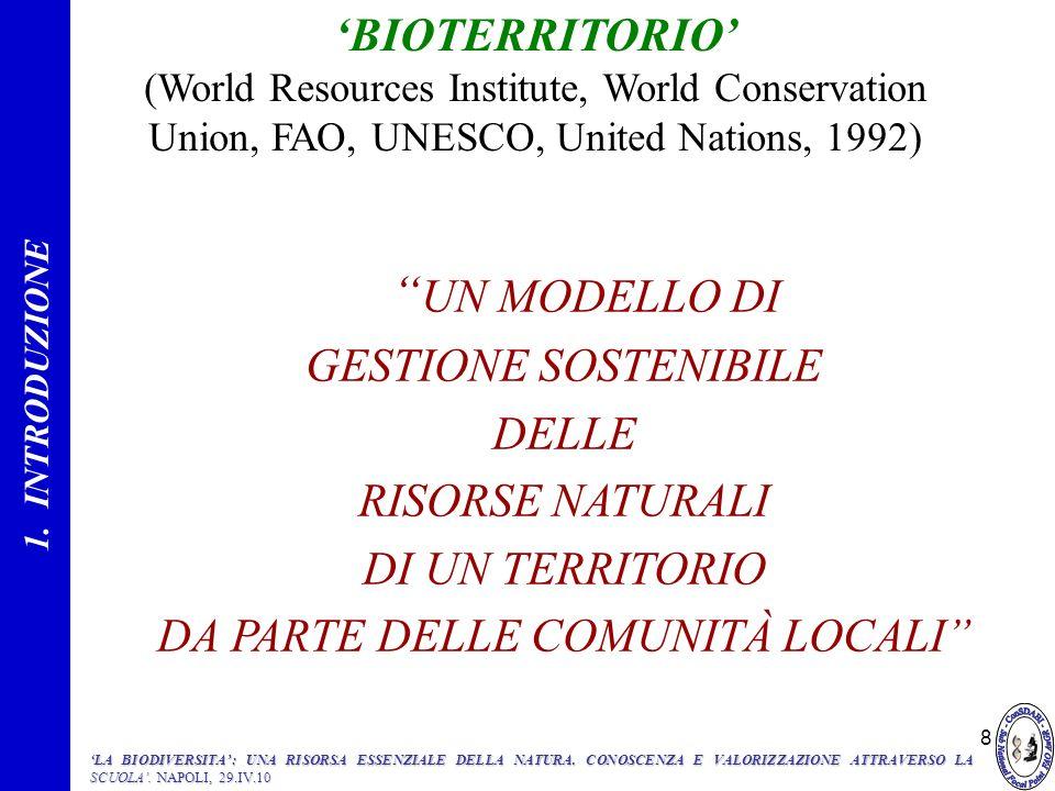 8 UN MODELLO DI GESTIONE SOSTENIBILE DELLE RISORSE NATURALI DI UN TERRITORIO DA PARTE DELLE COMUNITÀ LOCALI BIOTERRITORIO (World Resources Institute,