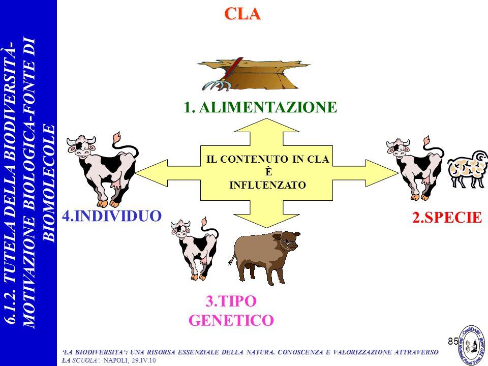 85 1. ALIMENTAZIONE 4.INDIVIDUO IL CONTENUTO IN CLA È INFLUENZATO 3.TIPO GENETICO 2.SPECIECLA 6.1.2. TUTELA DELLA BIODIVERSITÀ- MOTIVAZIONE BIOLOGICA-