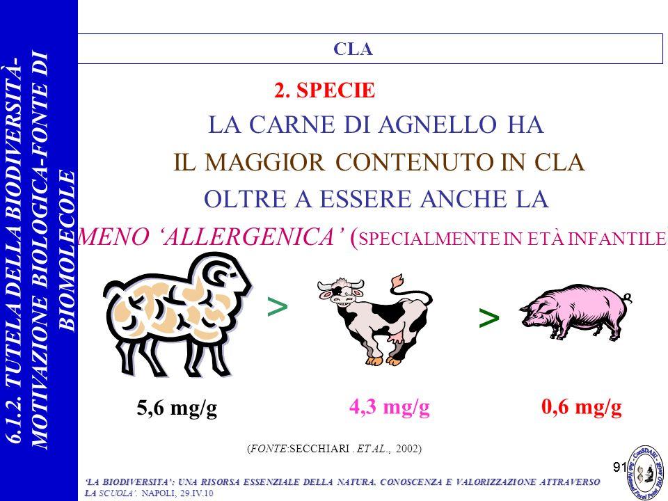 91 LA CARNE DI AGNELLO HA IL MAGGIOR CONTENUTO IN CLA OLTRE A ESSERE ANCHE LA MENO ALLERGENICA ( SPECIALMENTE IN ETÀ INFANTILE ) < 5,6 mg/g > 4,3 mg/g