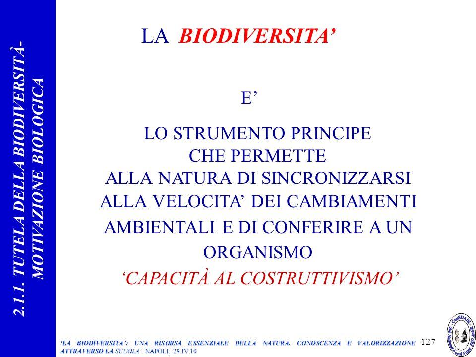 LA BIODIVERSITA E LO STRUMENTO PRINCIPE CHE PERMETTE ALLA NATURA DI SINCRONIZZARSI ALLA VELOCITA DEI CAMBIAMENTI AMBIENTALI E DI CONFERIRE A UN ORGANISMO CAPACITÀ AL COSTRUTTIVISMO 2.1.1.