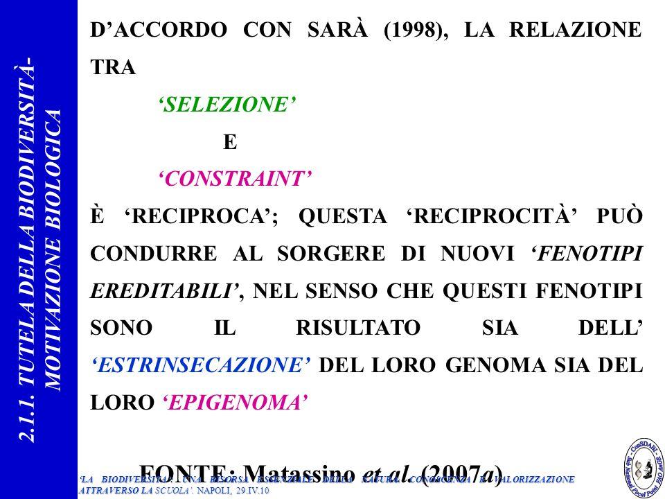 DACCORDO CON SARÀ (1998), LA RELAZIONE TRA SELEZIONE E CONSTRAINT È RECIPROCA; QUESTA RECIPROCITÀ PUÒ CONDURRE AL SORGERE DI NUOVI FENOTIPI EREDITABILI, NEL SENSO CHE QUESTI FENOTIPI SONO IL RISULTATO SIA DELL ESTRINSECAZIONE DEL LORO GENOMA SIA DEL LORO EPIGENOMA FONTE: Matassino et al.