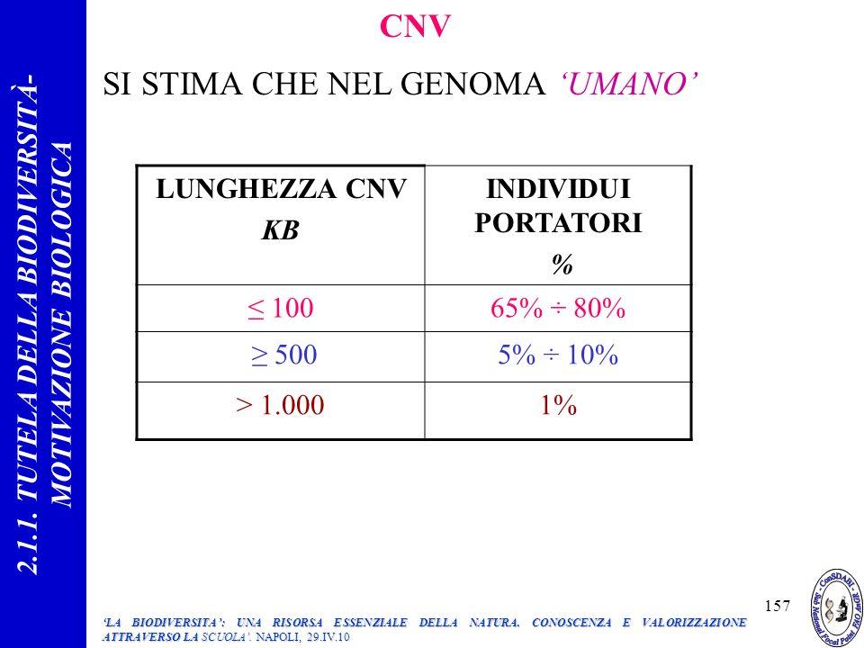 CNV SI STIMA CHE NEL GENOMA UMANO LUNGHEZZA CNV KB INDIVIDUI PORTATORI % 10065% ÷ 80% 5005% ÷ 10% > 1.0001% 2.1.1.