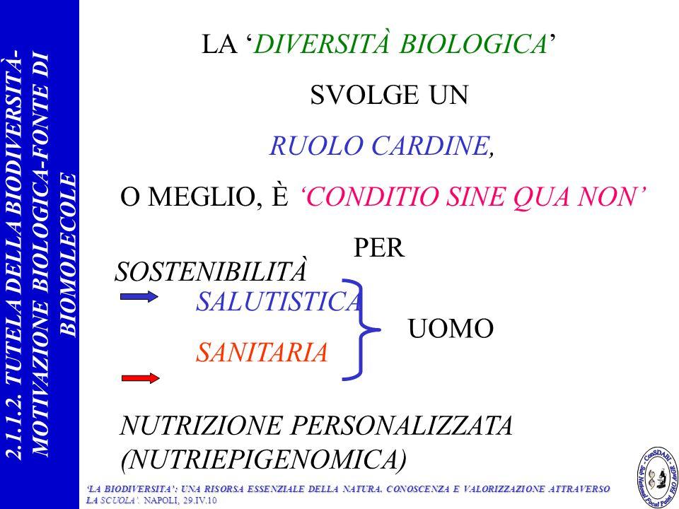 LA DIVERSITÀ BIOLOGICA SVOLGE UN RUOLO CARDINE, O MEGLIO, È CONDITIO SINE QUA NON PER NUTRIZIONE PERSONALIZZATA (NUTRIEPIGENOMICA) SOSTENIBILITÀ SALUTISTICA SANITARIA UOMO 2.1.1.2.