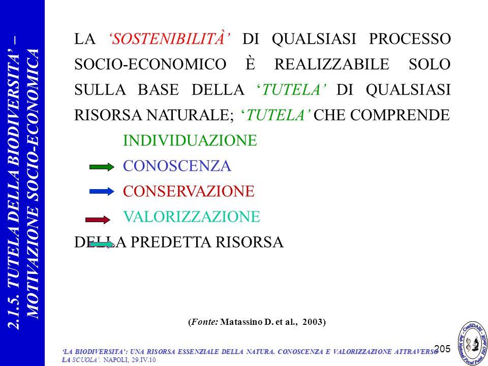 LA SOSTENIBILITÀ DI QUALSIASI PROCESSO SOCIO-ECONOMICO È REALIZZABILE SOLO SULLA BASE DELLA TUTELA DI QUALSIASI RISORSA NATURALE; TUTELA CHE COMPRENDE INDIVIDUAZIONE CONOSCENZA CONSERVAZIONE VALORIZZAZIONE DELLA PREDETTA RISORSA 2.1.5.