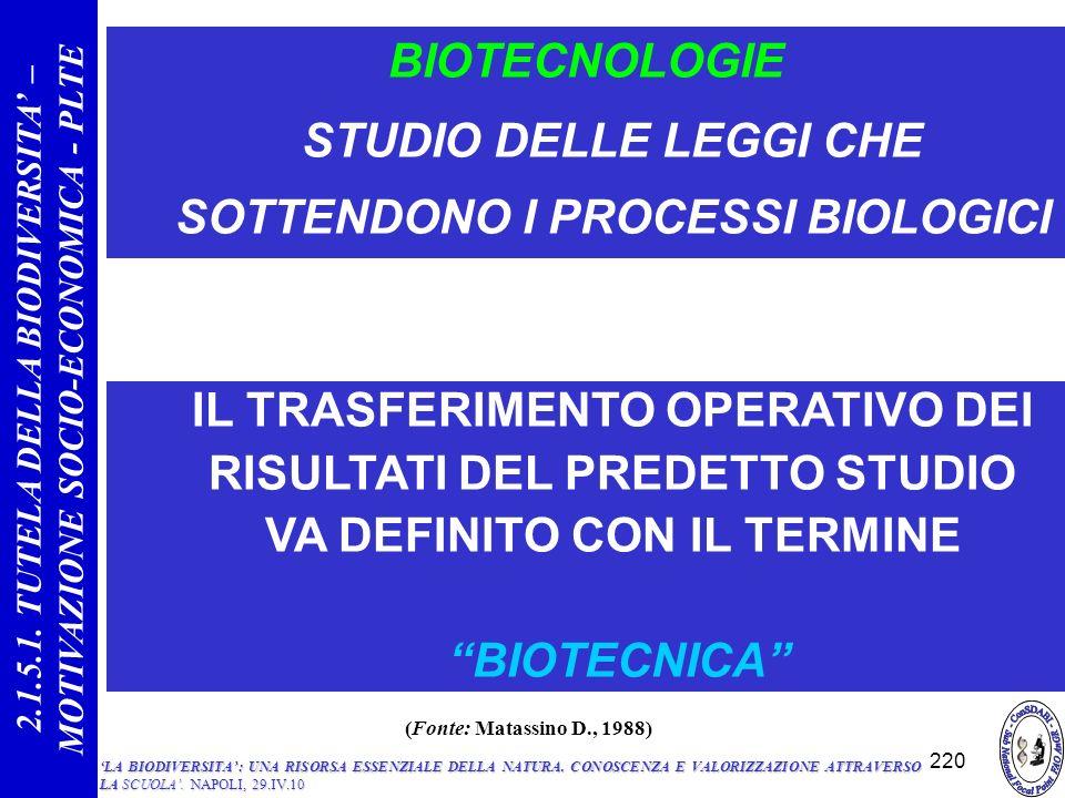 BIOTECNOLOGIE STUDIO DELLE LEGGI CHE SOTTENDONO I PROCESSI BIOLOGICI IL TRASFERIMENTO OPERATIVO DEI RISULTATI DEL PREDETTO STUDIO VA DEFINITO CON IL TERMINE BIOTECNICA 220 2.1.5.1.