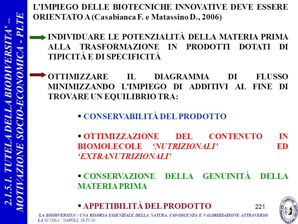 LIMPIEGO DELLE BIOTECNICHE INNOVATIVE DEVE ESSERE ORIENTATO A (Casabianca F.