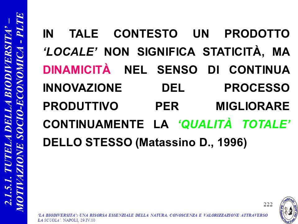 IN TALE CONTESTO UN PRODOTTO LOCALE NON SIGNIFICA STATICITÀ, MA DINAMICITÀ, NEL SENSO DI CONTINUA INNOVAZIONE DEL PROCESSO PRODUTTIVO PER MIGLIORARE CONTINUAMENTE LA QUALITÀ TOTALE DELLO STESSO (Matassino D., 1996) 222 2.1.5.1.