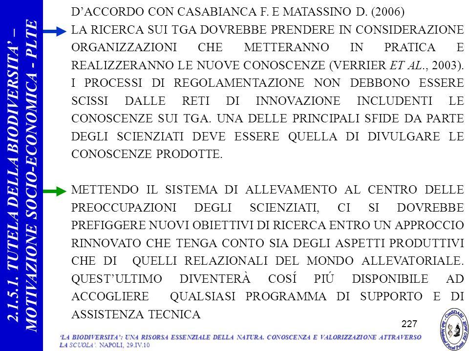 DACCORDO CON CASABIANCA F.E MATASSINO D.