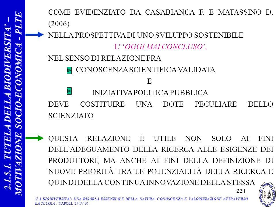 COME EVIDENZIATO DA CASABIANCA F.E MATASSINO D.