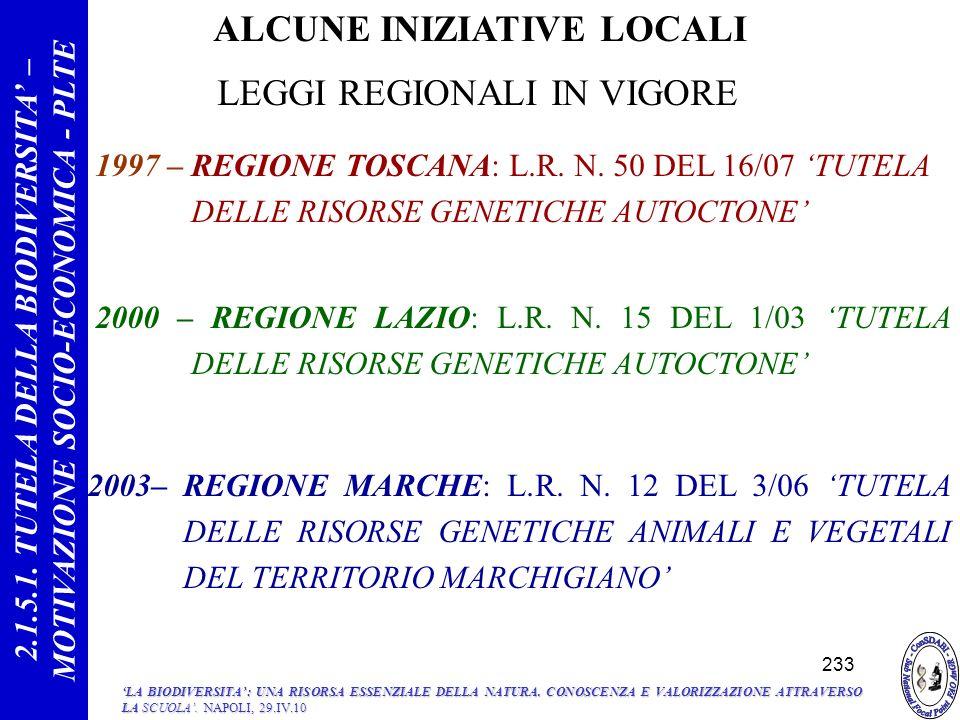 ALCUNE INIZIATIVE LOCALI 1997 – REGIONE TOSCANA: L.R.
