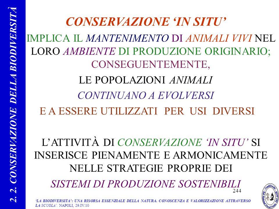 CONSERVAZIONE IN SITU IMPLICA IL MANTENIMENTO DI ANIMALI VIVI NEL LORO AMBIENTE DI PRODUZIONE ORIGINARIO; CONSEGUENTEMENTE, LE POPOLAZIONI ANIMALI CONTINUANO A EVOLVERSI E A ESSERE UTILIZZATI PER USI DIVERSI LATTIVITÀ DI CONSERVAZIONE IN SITU SI INSERISCE PIENAMENTE E ARMONICAMENTE NELLE STRATEGIE PROPRIE DEI SISTEMI DI PRODUZIONE SOSTENIBILI 2.