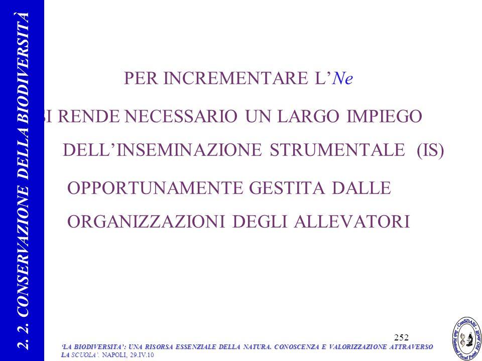PER INCREMENTARE LNe SI RENDE NECESSARIO UN LARGO IMPIEGO DELLINSEMINAZIONE STRUMENTALE (IS) OPPORTUNAMENTE GESTITA DALLE ORGANIZZAZIONI DEGLI ALLEVATORI 71 2.