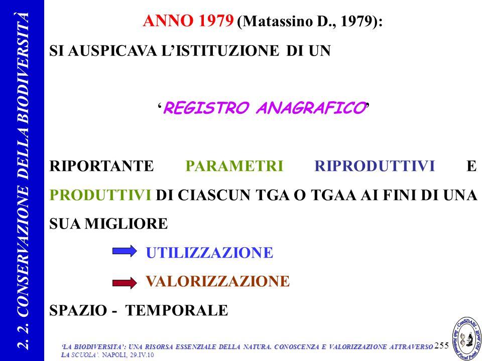 ANNO 1979 (Matassino D., 1979): SI AUSPICAVA LISTITUZIONE DI UN REGISTRO ANAGRAFICO RIPORTANTE PARAMETRI RIPRODUTTIVI E PRODUTTIVI DI CIASCUN TGA O TGAA AI FINI DI UNA SUA MIGLIORE UTILIZZAZIONE VALORIZZAZIONE SPAZIO - TEMPORALE 2.
