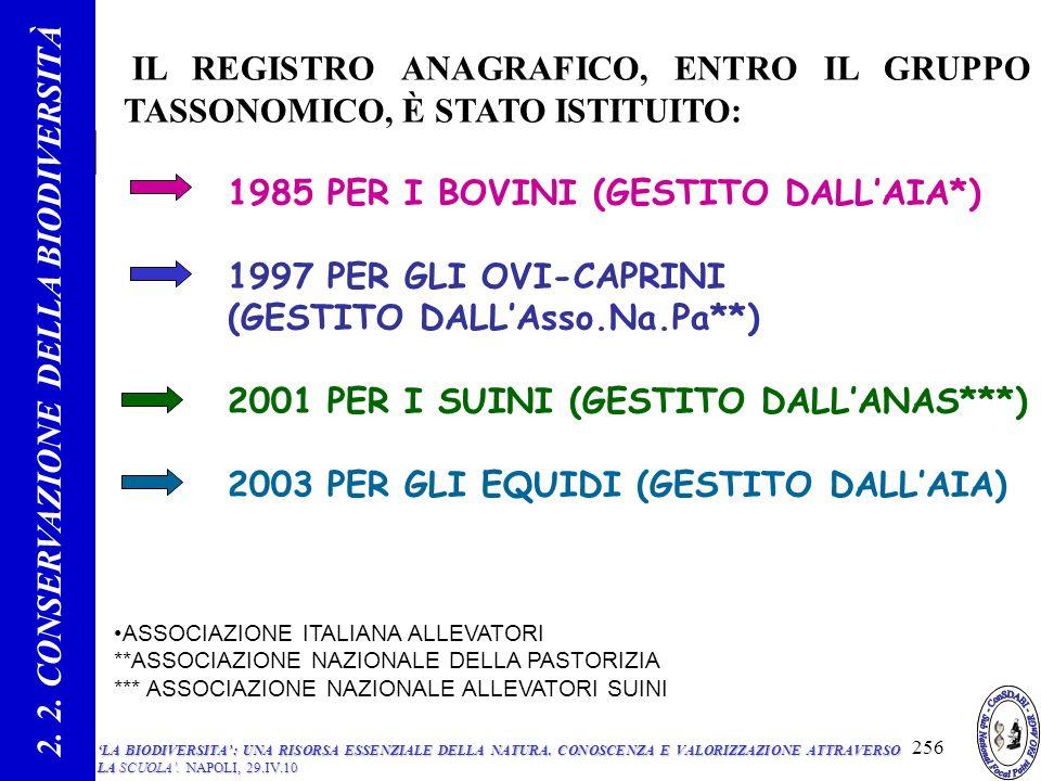 IL REGISTRO ANAGRAFICO, ENTRO IL GRUPPO TASSONOMICO, È STATO ISTITUITO: 1985 PER I BOVINI (GESTITO DALLAIA*) 1997 PER GLI OVI-CAPRINI (GESTITO DALLAsso.Na.Pa**) 2001 PER I SUINI (GESTITO DALLANAS***) 2003 PER GLI EQUIDI (GESTITO DALLAIA) 2.