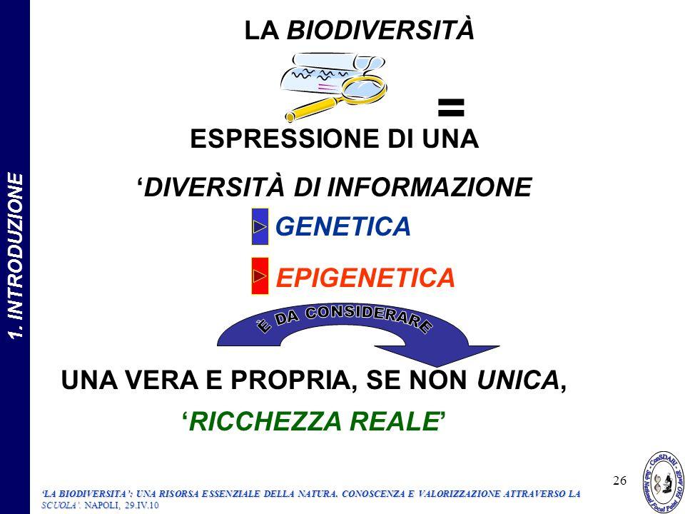 26 UNA VERA E PROPRIA, SE NON UNICA, RICCHEZZA REALE ESPRESSIONE DI UNA DIVERSITÀ DI INFORMAZIONE GENETICA EPIGENETICA LA BIODIVERSITÀ = 1.