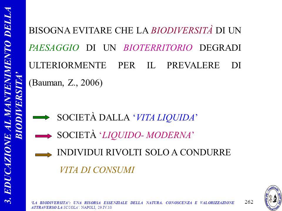 BISOGNA EVITARE CHE LA BIODIVERSITÀ DI UN PAESAGGIO DI UN BIOTERRITORIO DEGRADI ULTERIORMENTE PER IL PREVALERE DI (Bauman, Z., 2006) SOCIETÀ DALLA VITA LIQUIDA SOCIETÀ LIQUIDO- MODERNA INDIVIDUI RIVOLTI SOLO A CONDURRE VITA DI CONSUMI 3.
