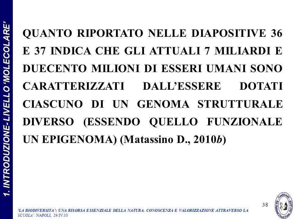 1.INTRODUZIONE- LIVELLO MOLECOLARE 38 LA BIODIVERSITA: UNA RISORSA ESSENZIALE DELLA NATURA.