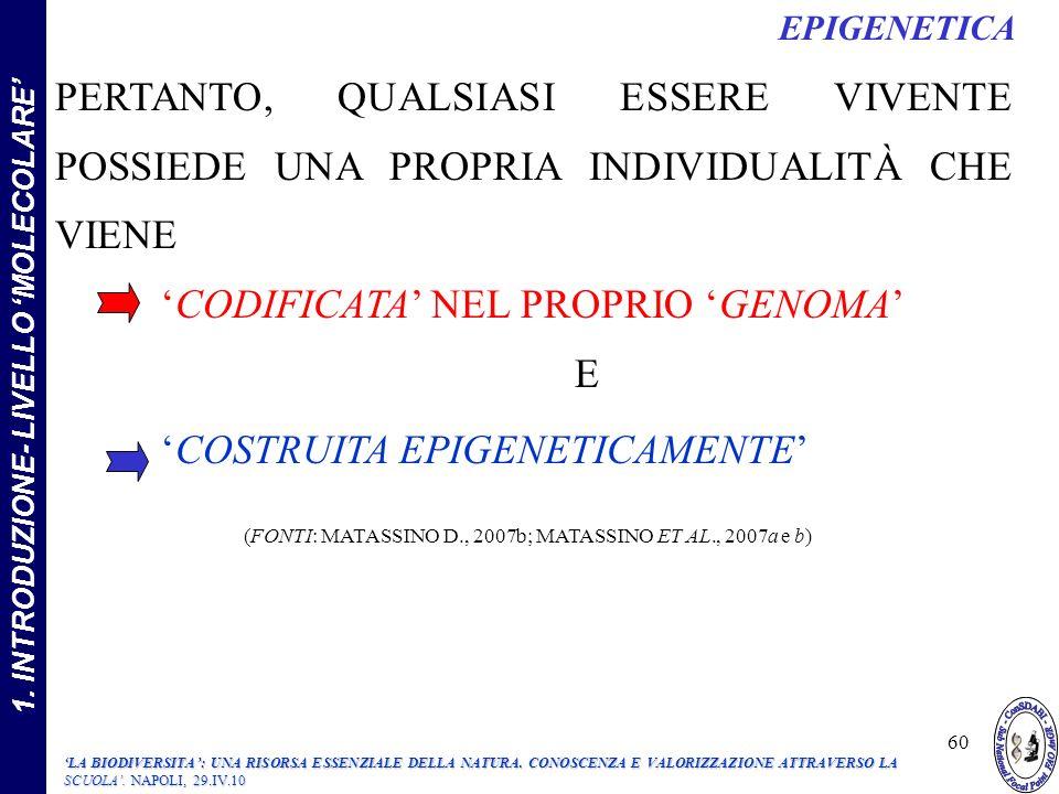 PERTANTO, QUALSIASI ESSERE VIVENTE POSSIEDE UNA PROPRIA INDIVIDUALITÀ CHE VIENE CODIFICATA NEL PROPRIO GENOMA E COSTRUITA EPIGENETICAMENTE (FONTI: MATASSINO D., 2007b; MATASSINO ET AL., 2007a e b) EPIGENETICA 1.