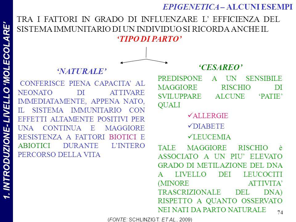 NATURALE CONFERISCE PIENA CAPACITA AL NEONATO DI ATTIVARE IMMEDIATAMENTE, APPENA NATO, IL SISTEMA IMMUNITARIO CON EFFETTI ALTAMENTE POSITIVI PER UNA CONTINUA E MAGGIORE RESISTENZA A FATTORI BIOTICI E ABIOTICI DURANTE LINTERO PERCORSO DELLA VITA TRA I FATTORI IN GRADO DI INFLUENZARE L EFFICIENZA DEL SISTEMA IMMUNITARIO DI UN INDIVIDUO SI RICORDA ANCHE IL TIPO DI PARTO CESAREO PREDISPONE A UN SENSIBILE MAGGIORE RISCHIO DI SVILUPPARE ALCUNE PATIE QUALI ALLERGIE DIABETE LEUCEMIA TALE MAGGIORE RISCHIO è ASSOCIATO A UN PIU ELEVATO GRADO DI METILAZIONE DEL DNA A LIVELLO DEI LEUCOCITI (MINORE ATTIVITA TRASCRIZIONALE DEL DNA) RISPETTO A QUANTO OSSERVATO NEI NATI DA PARTO NATURALE (FONTE: SCHLINZIG T.