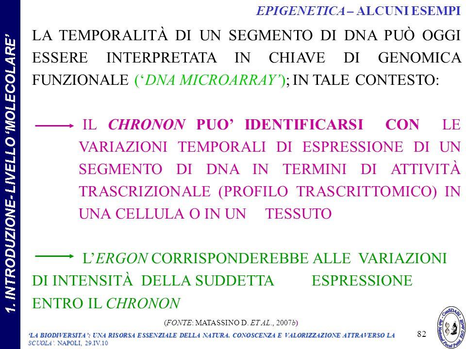 LA TEMPORALITÀ DI UN SEGMENTO DI DNA PUÒ OGGI ESSERE INTERPRETATA IN CHIAVE DI GENOMICA FUNZIONALE (DNA MICROARRAY); IN TALE CONTESTO: IL CHRONON PUO IDENTIFICARSI CON LE VARIAZIONI TEMPORALI DI ESPRESSIONE DI UN SEGMENTO DI DNA IN TERMINI DI ATTIVITÀ TRASCRIZIONALE (PROFILO TRASCRITTOMICO) IN UNA CELLULA O IN UN TESSUTO LERGON CORRISPONDEREBBE ALLE VARIAZIONI DI INTENSITÀ DELLA SUDDETTA ESPRESSIONE ENTRO IL CHRONON (FONTE: MATASSINO D.