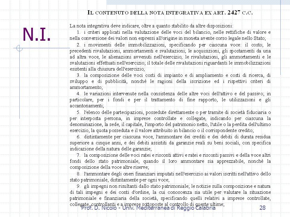 Prof. D. Nicolò - Univ. Mediterranea di Reggio Calabria27