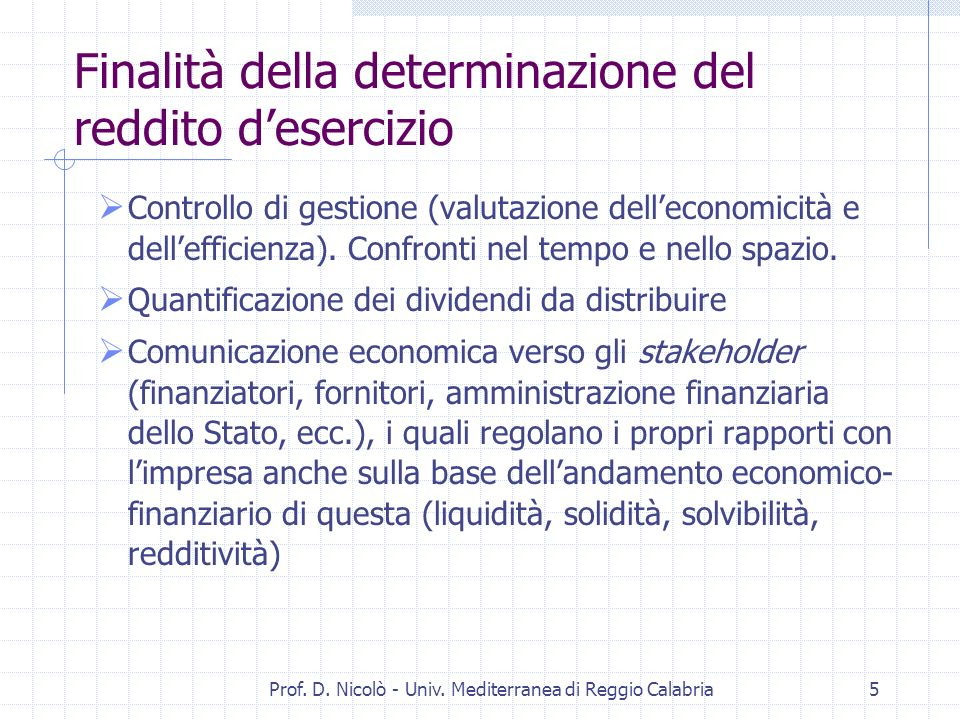 Prof. D. Nicolò - Univ.