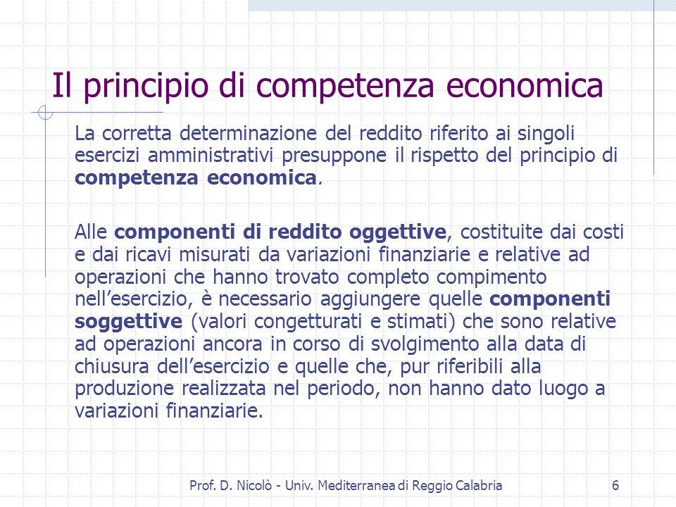 Prof. D. Nicolò - Univ. Mediterranea di Reggio Calabria26 C.E.