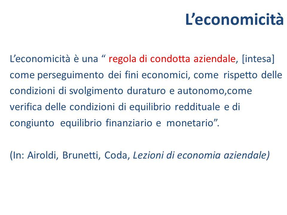 Leconomicità è una regola di condotta aziendale, [intesa] come perseguimento dei fini economici, come rispetto delle condizioni di svolgimento duratur