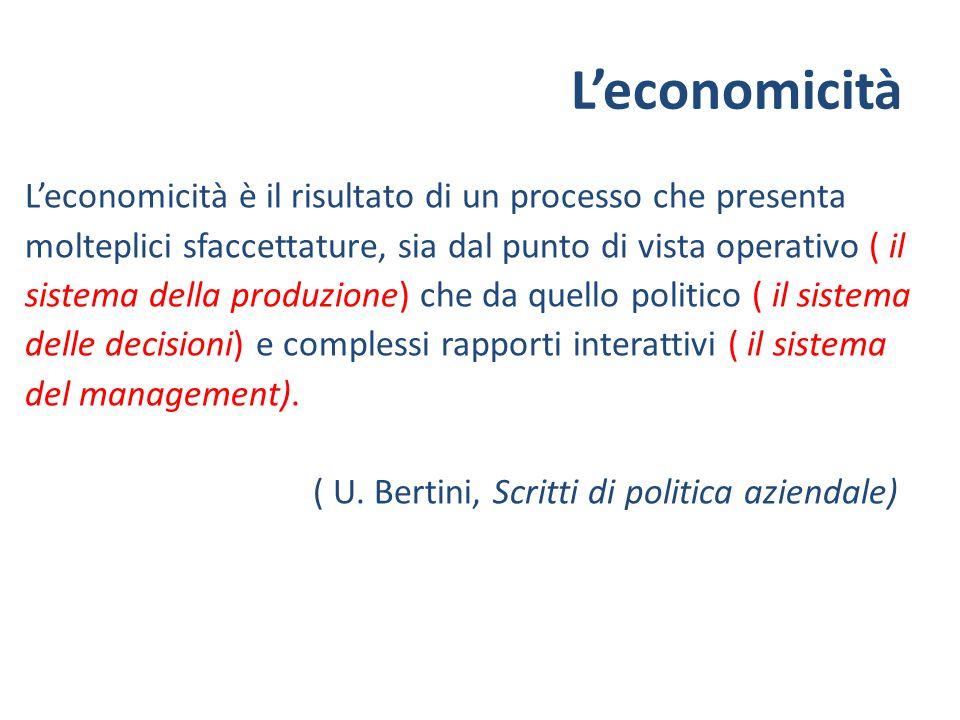 Leconomicità è il risultato di un processo che presenta molteplici sfaccettature, sia dal punto di vista operativo ( il sistema della produzione) che