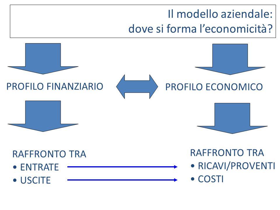 Il modello aziendale: dove si forma leconomicità? PROFILO FINANZIARIO PROFILO ECONOMICO RAFFRONTO TRA ENTRATE USCITE RAFFRONTO TRA RICAVI/PROVENTI COS