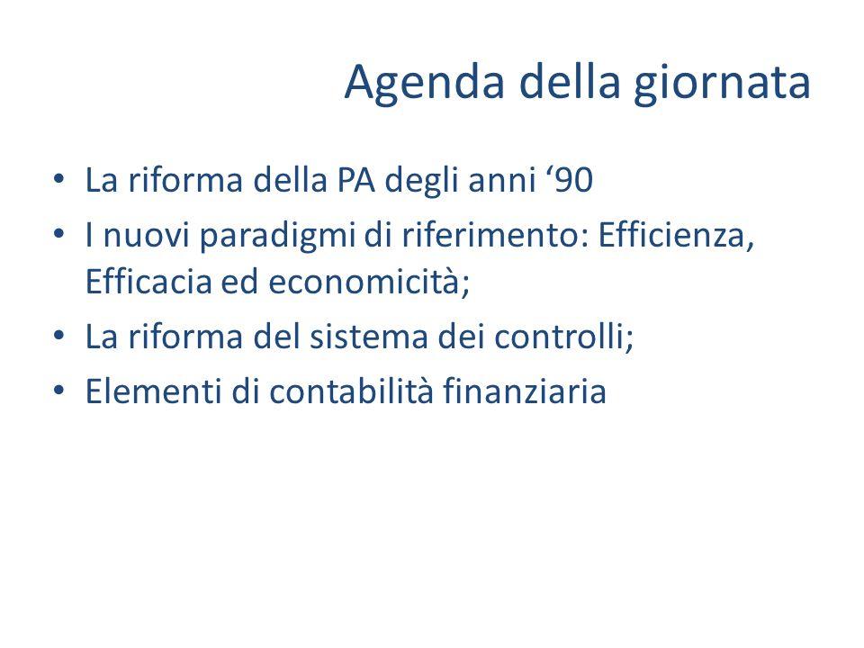 Agenda della giornata La riforma della PA degli anni 90 I nuovi paradigmi di riferimento: Efficienza, Efficacia ed economicità; La riforma del sistema