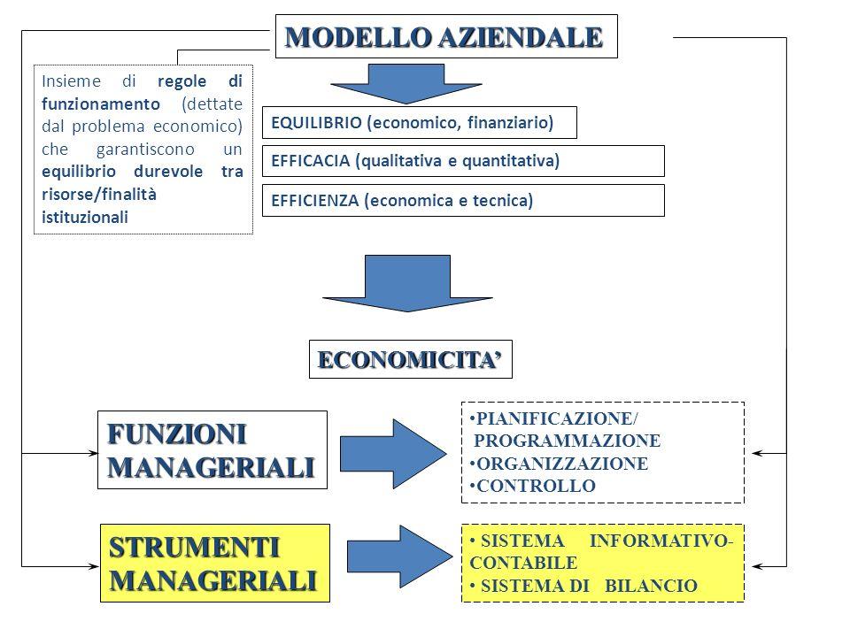 MODELLO AZIENDALE Insieme di regole di funzionamento (dettate dal problema economico) che garantiscono un equilibrio durevole tra risorse/finalità ist