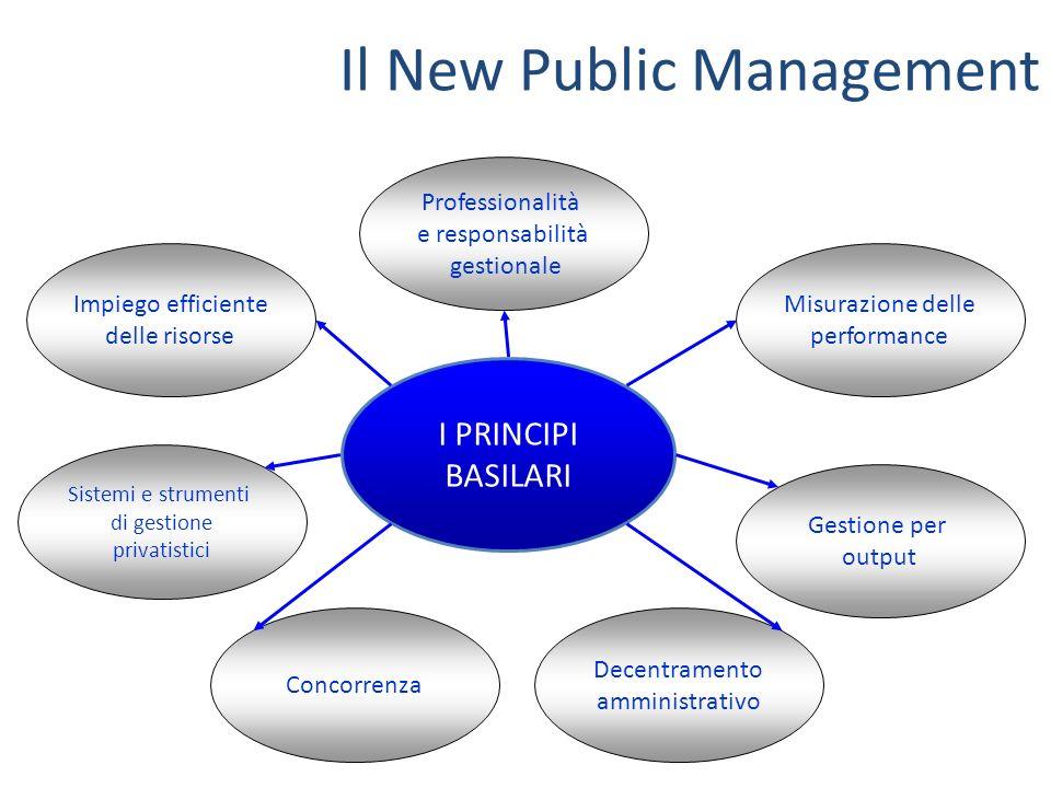 Il New Public Management I PRINCIPI BASILARI Professionalità e responsabilità gestionale Impiego efficiente delle risorse Sistemi e strumenti di gesti