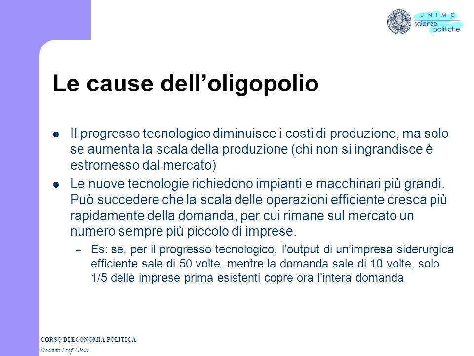 CORSO DI ECONOMIA POLITICA Docente Prof. Gioia Le cause delloligopolio Il progresso tecnologico diminuisce i costi di produzione, ma solo se aumenta l