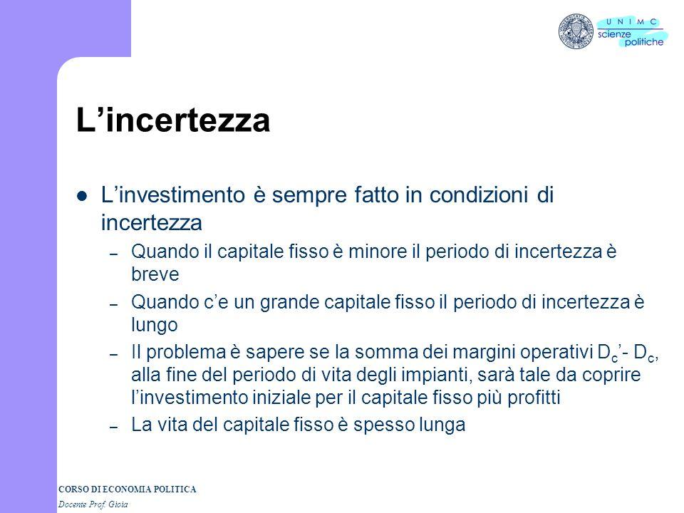 CORSO DI ECONOMIA POLITICA Docente Prof. Gioia Lincertezza Linvestimento è sempre fatto in condizioni di incertezza – Quando il capitale fisso è minor