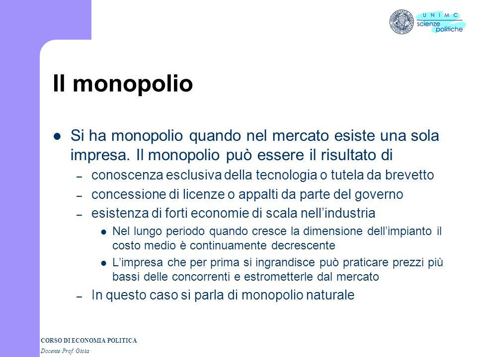 CORSO DI ECONOMIA POLITICA Docente Prof. Gioia Il monopolio Si ha monopolio quando nel mercato esiste una sola impresa. Il monopolio può essere il ris